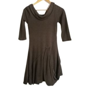 EVE GRAVEL Brown Asymetrical Lagenlook Mini Dress